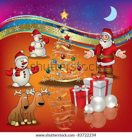 Abstract Christmas red greeting with Santa deer snowmen and gifts