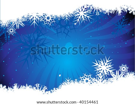 Abstract christmas snow on blue background, vector illustration for xmas - stock vector