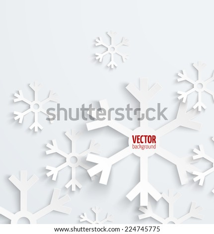 Abstract christmas snowflake paper 3D backbround. Vector illustration - stock vector