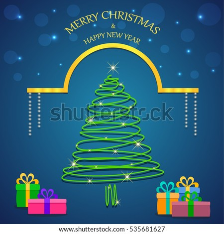 Abstract christmas tree merry christmas message stock vector abstract christmas tree and merry christmas message with gifts golden decoration lines and elements m4hsunfo