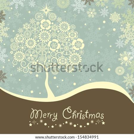 Abstract Christmas tree and merry Christmas text - stock vector