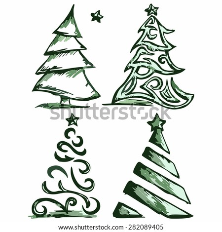 Abstract Christmas tree and star. Doodle style - stock vector