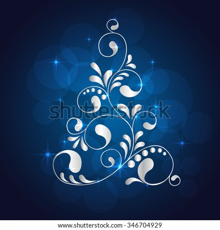 Abstract Christmas tree. Greeting, invitation card. Simple decorative blue and white. vector illustration - stock vector