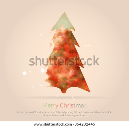 Abstract christmas tree icon or logo concept. Silhouette of evergreen tree filled with colorful abstract pattern with added text and snowflakes.