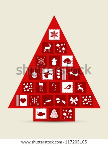 Abstract Christmas tree made of drawers with icons - stock vector