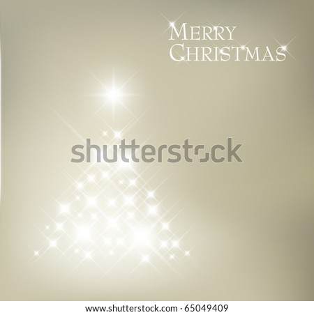 Abstract Christmas tree made of light and sparkles flakes - stock vector
