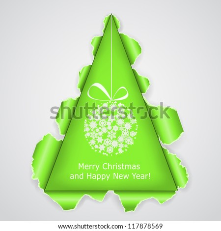 Abstract Christmas tree made �¢??�¢??of torn paper. Vector eps10 illustration - stock vector