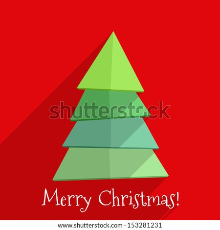 Abstract christmas tree on red background, flat design with long shadows, vector eps10 illustration