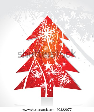 Abstract christmas tree on snow background, vector illustration for xmas - stock vector