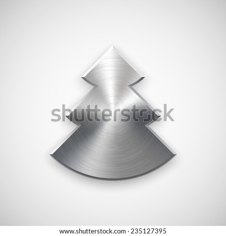 Abstract Christmas tree sign, blank button template with metal texture (chrome, silver, steel), realistic shadow and light background for user interfaces, UI, applications and apps. Vector. - stock vector