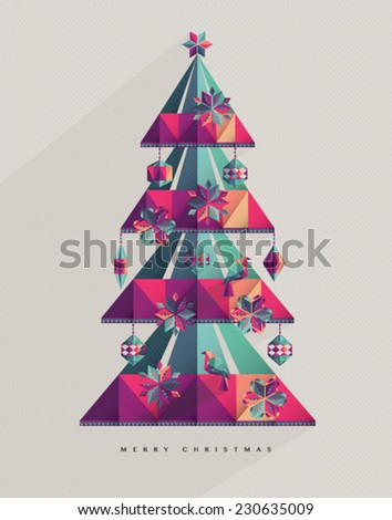 Abstract Christmas Tree with beautiful decoration elements & birds. - stock vector