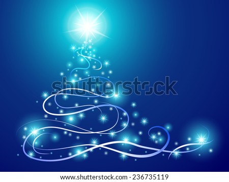 abstract christmas tree with glowing stars and wave lines on blue background, vector illustration - stock vector