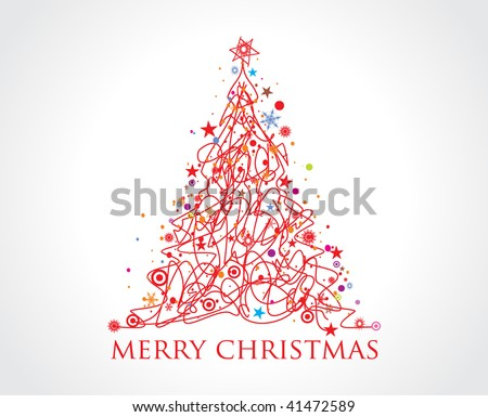 Abstract christmas tree with hand sketch line, vector illustration for xmas - stock vector
