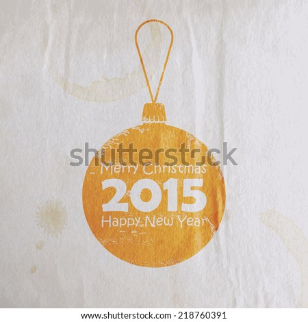 Abstract Christmas watercolor ball in flat style. holiday vector illustration with old paper wrinkled texture. Merry Christmas and Happy new 2015 year  - stock vector