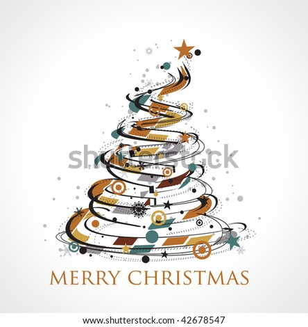 Abstract christmas wave line tree with snow background, vector illustration for xmas - stock vector