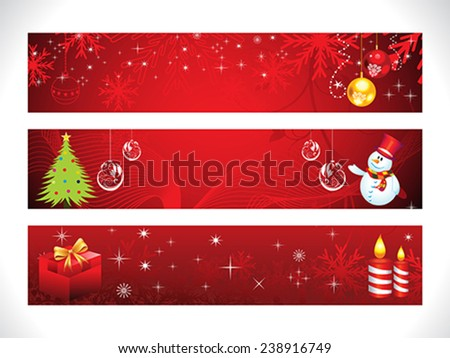 abstract Christmas web banner template vector illustration - stock vector