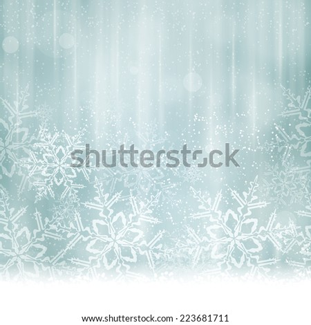 Abstract Christmas, winter background in shades of silver and desaturated blues tones. Light effects, snowfall big snow flakes give it a dreamy and festive feel. Space for your text. - stock vector