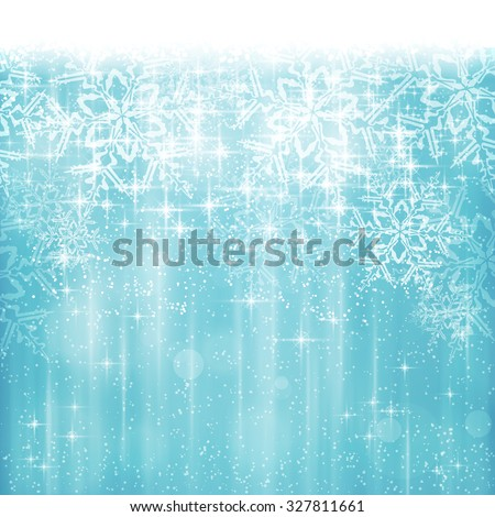 Abstract Christmas, winter background in shades of white and blue tones. Light effects, snowfall and big snow flakes give it a dreamy and festive feel. Space for your text. - stock vector