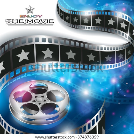 Abstract Cinema Background with Blurred Lights, Film Reel and Waving Film Strip - stock vector