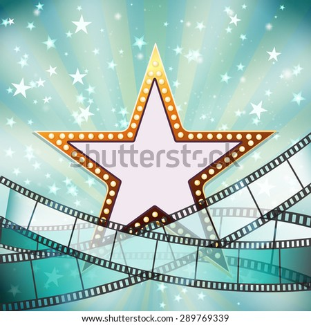 abstract cinema background with golden star  - stock vector