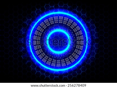 abstract circle and  hexagon technology on blue background - stock vector