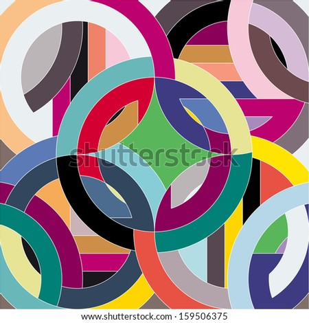 abstract circle background, retro style - stock vector