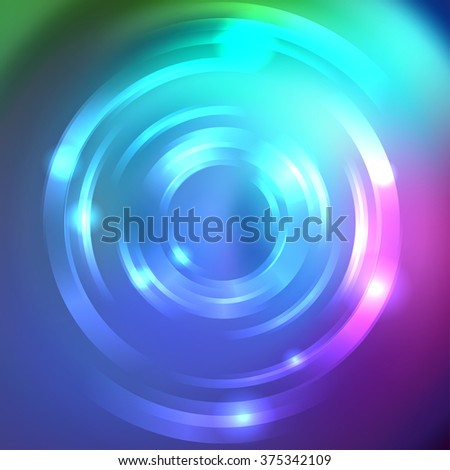 Abstract circle background, Vector design. Blue, pink colors.  Vector infinite round tunnel of shining flares.   - stock vector