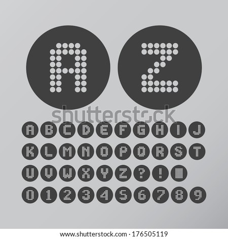 Abstract Circle Dot Font and Numbers, Eps 10 Vector