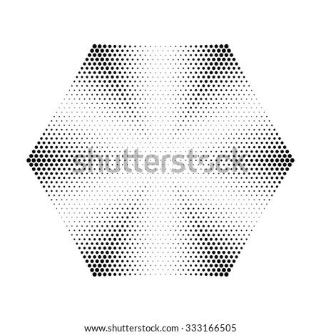 Abstract circle halftone dots in Hexagon Form. Logo design. Vector illustration background.