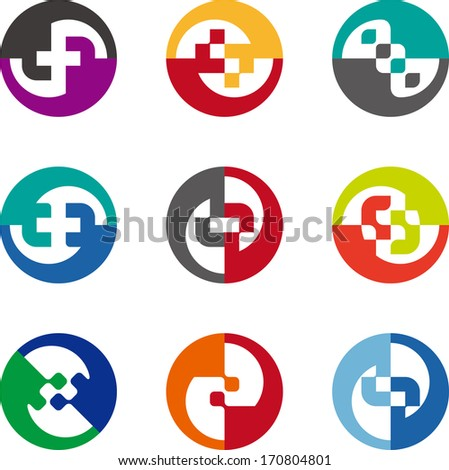 Abstract circle logo pattern. Design round element. Colorful icons set.