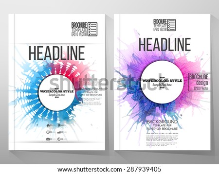 Abstract circle white banners with place for text, watercolor stains and vintage style star burst. Business vector templates for brochure, flyer or booklet. - stock vector