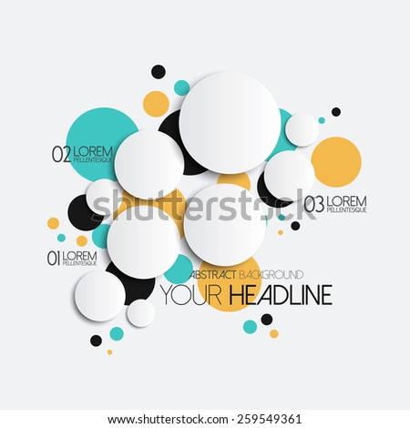 Abstract Circles with drop shadows. Pattern design for banner, poster, flyer, card, infographics, postcard, cover, brochure. Vector - stock vector