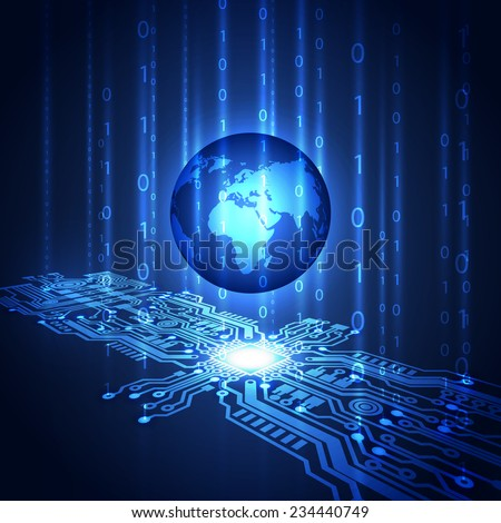 Abstract circuit board background with globe, vector illustration - stock vector