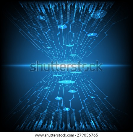 abstract circuit electronic, vector technology background - stock vector