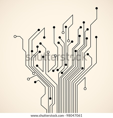 Abstract circuit tree. Vector background - stock vector