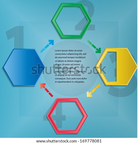 Abstract circular background with hexagons - stock vector