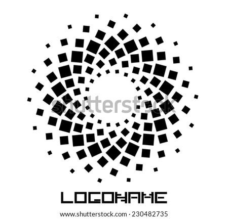 Abstract circular halftone dots form. Logo design. Vector illustration background.  - stock vector
