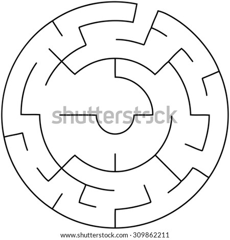 Abstract circular maze - stock vector