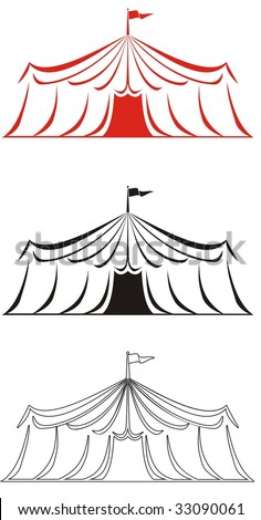 Abstract circus tent vector illustration in red, black and black and white.  Ideal for carnival signs decals, digital stamps and more - stock vector