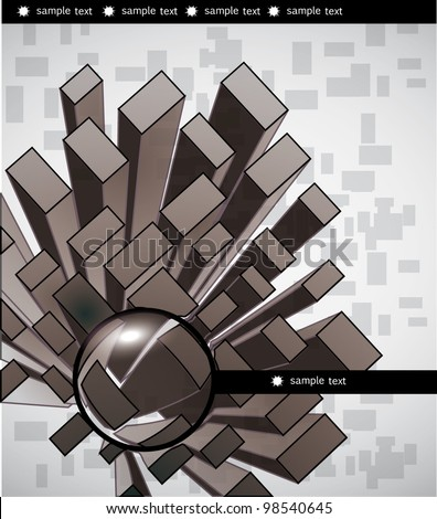 Abstract city and magnifer glass - stock vector