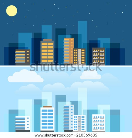 Abstract city buildings illustration set. Flat design - stock vector