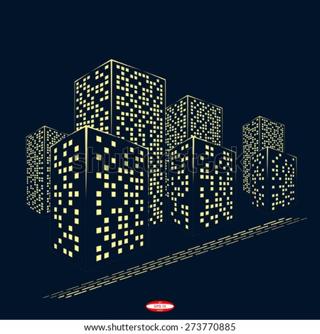 abstract city graphical yellow silhouette isolated on dark background. vector illustration - stock vector