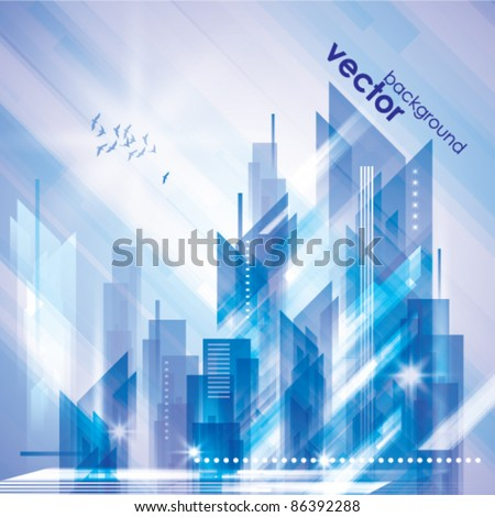 Abstract City Landscape in Winter Time - stock vector