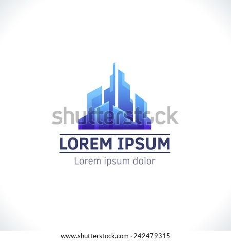 Abstract city logo template. Corporate icon, logotype. Brand visualization. Vector element for banner, business card, poster, corporate identity, presentation, app and web design. - stock vector