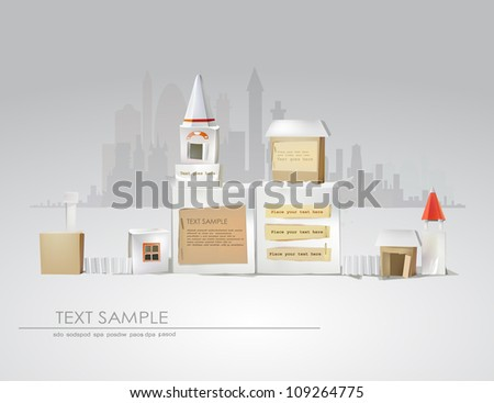 abstract city made of paper cubes - stock vector