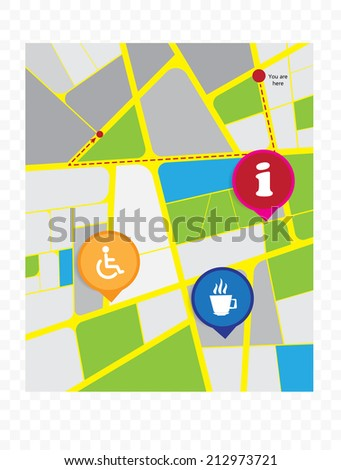 Abstract city map illustration, vector - stock vector