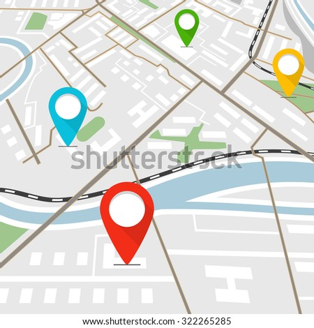 Abstract city map with color pins - stock vector