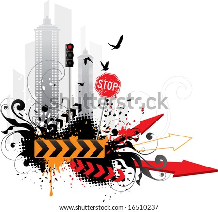 Abstract city on a white background - stock vector