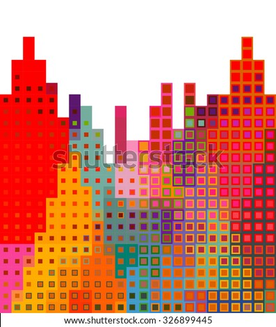 Abstract city silhouette background illustration - stock vector