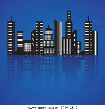 Abstract City skyline at night, Vector illustration